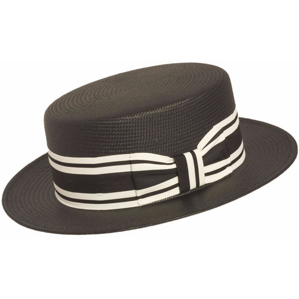 Shantung Boater BLACK / L, HATS - CAPAS, Levine Hat Co.