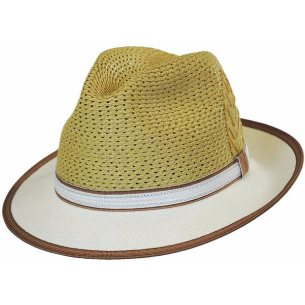 Santana Brishen Two-Tone Fedora NATURAL / L, Hats - SANTANA, Levine Hat Co.