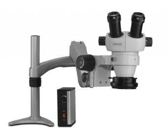 Scienscope ELZ-PK3-LED Mini Stereo Zoom Binocular Microscope - On Articulating Arm with LED Ring Light