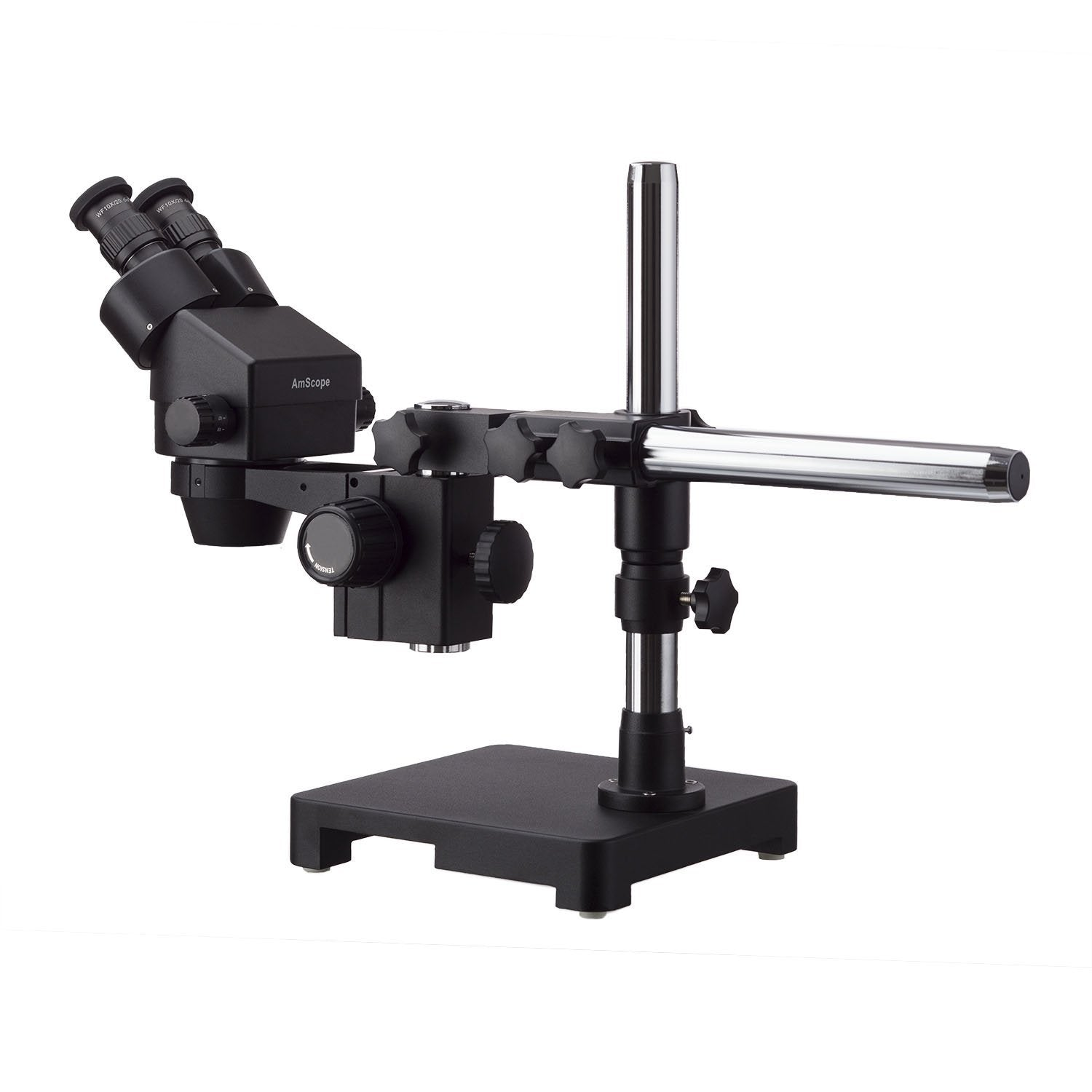 AmScope 7X-45X Black Stereo Zoom Microscope with Single Arm Boom Stand