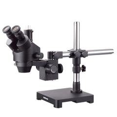 AmScope  7X-90X Black Trinocular Stereo Zoom Microscope on Single Arm Boom Stand + 144 LED Ring-light