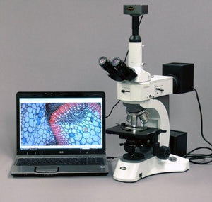 AmScope 50X-2500X Darkfield Polarizing Metallurgical Microscope + 18MP Camera