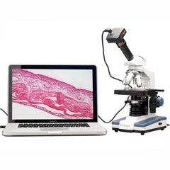 AmScope 2000X Double Layer Stage LED Monocular Digital Compound Microscope w 3MP Camera