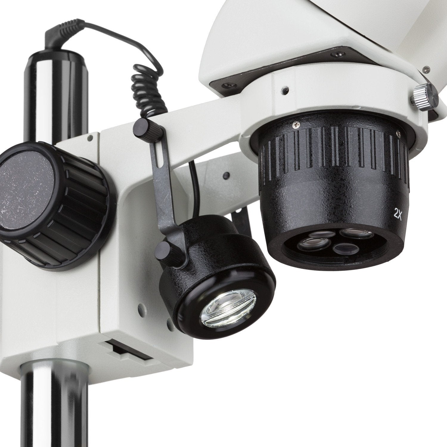 AmScope 10X-30X Multi-Power Pillar Stand Stereo Microscope with Top & Bottom LED Lights