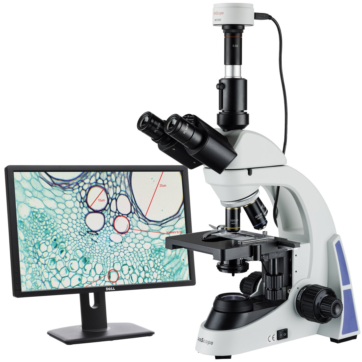 AmScope 40X-2000X LED Biological Trinocular Compound Microscope with 5MP Camera