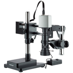 Industrial Inspection Zoom Monocular Microscope with Double Arm Stand and 1080p HDMI Camera