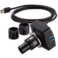 AmScope 5MP Global-shutter Low-light USB3.0 C-mount Microscope Camera with Calibration Slide