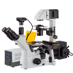 AmScope  40X-1500X Inverted Phase-Contrast + Fluorescence Microscope with 5MP Global-shutter Low-light Camera
