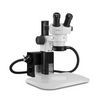 Scienscope ELZ-PK2-AN Mini Stereo Zoom Binocular Microscope - On ErgoTrack Stand with LED Annular Ring Light
