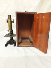 Vintage 1914 Bausch & Lomb Monocular Compound Microscope with Case