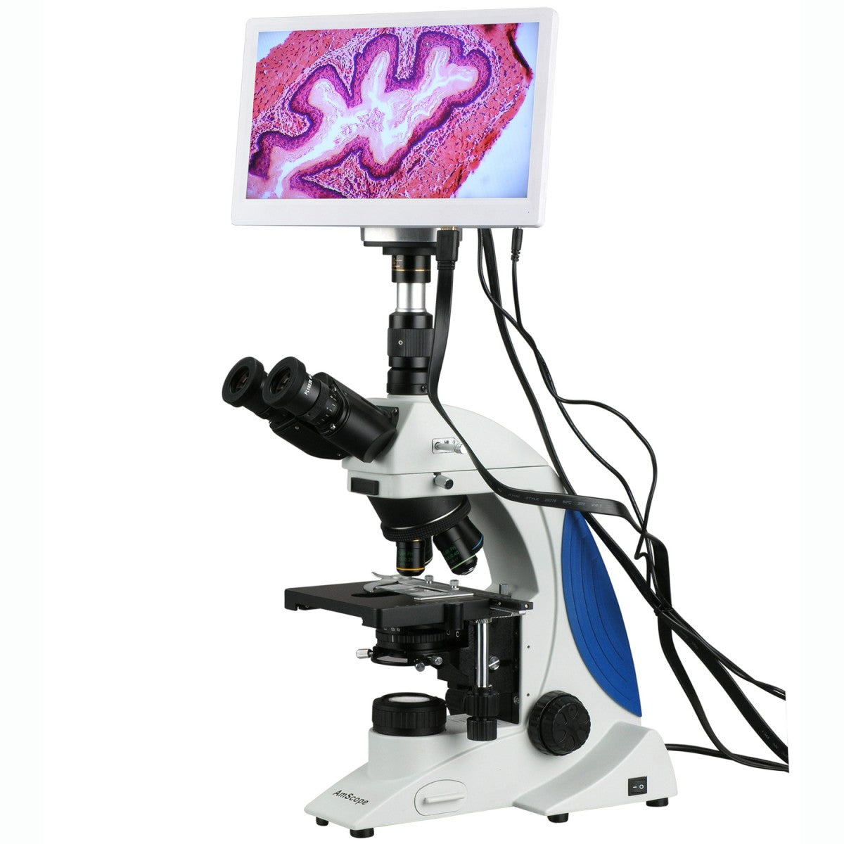 AmScope 40X-1000X Plan Infinity Kohler Laboratory Research Microscope with HDMI Camera & HD Monitor