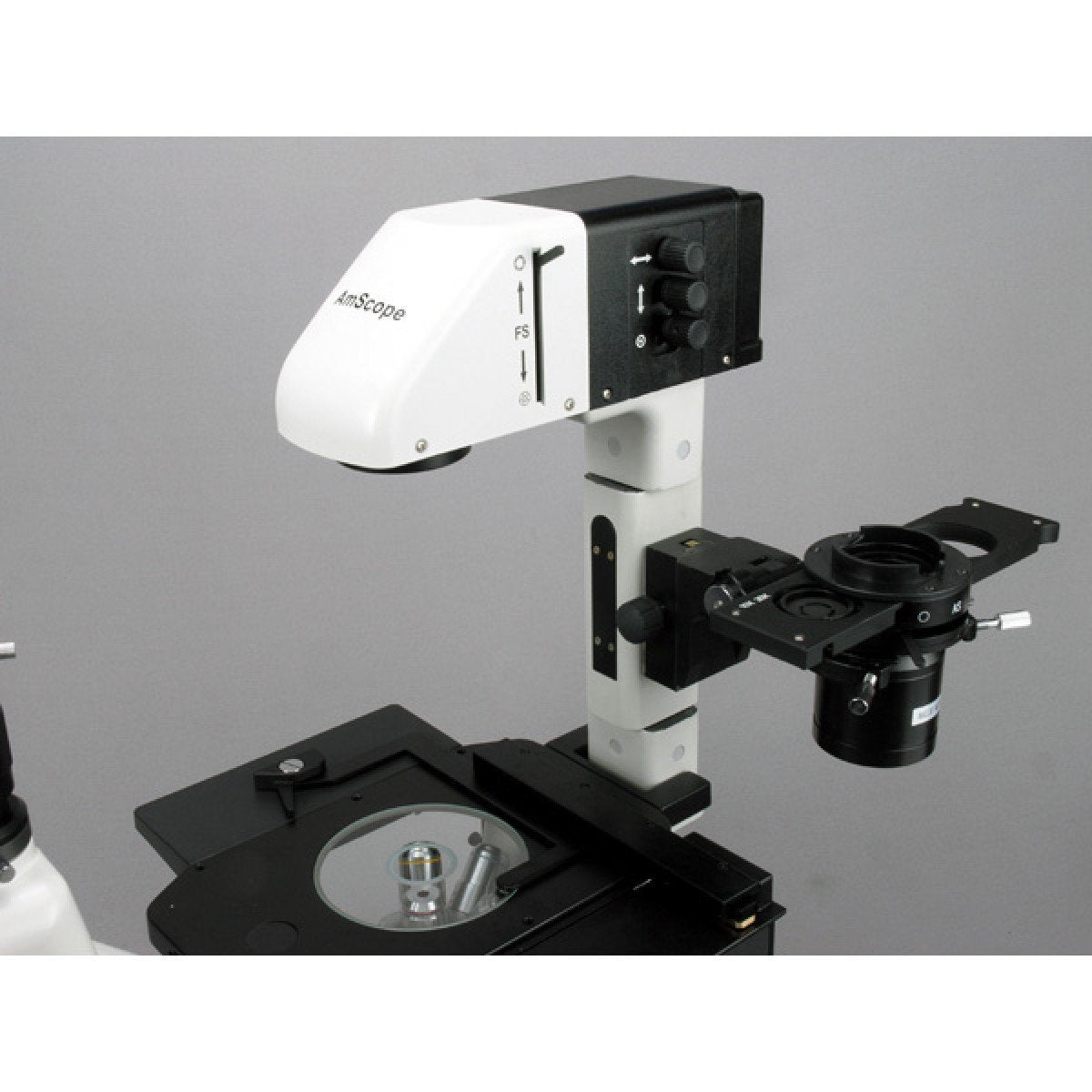 AmScope 40X-900X Phase Contrast Fluorescence Inverted Microscope - IN480TA-FL