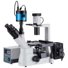 AmScope 40x-1000x Inverted Plan Fluorescence Microscope + CCD Low-light Camera - IN300TC-FL-MF603