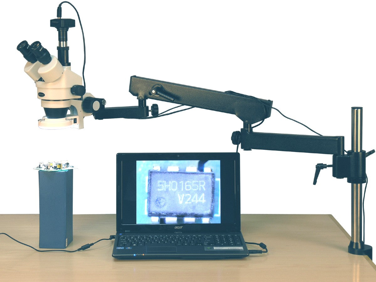 Amscope 3.5X-90X 144-LED Articulating Arm Zoom Stereo Microscope + 10MP Digital Camera