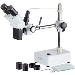 AmScope 5X-10X Binocular Boom Arm Stereo Microscope + Light