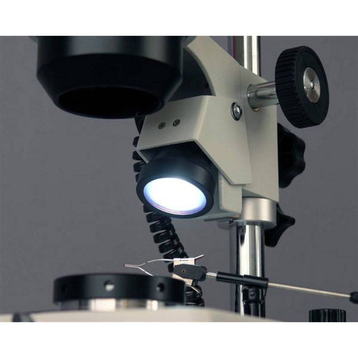 AmScope 10X-60X Darkfield Jewelry Gem Microscope + 1.3MP Camera