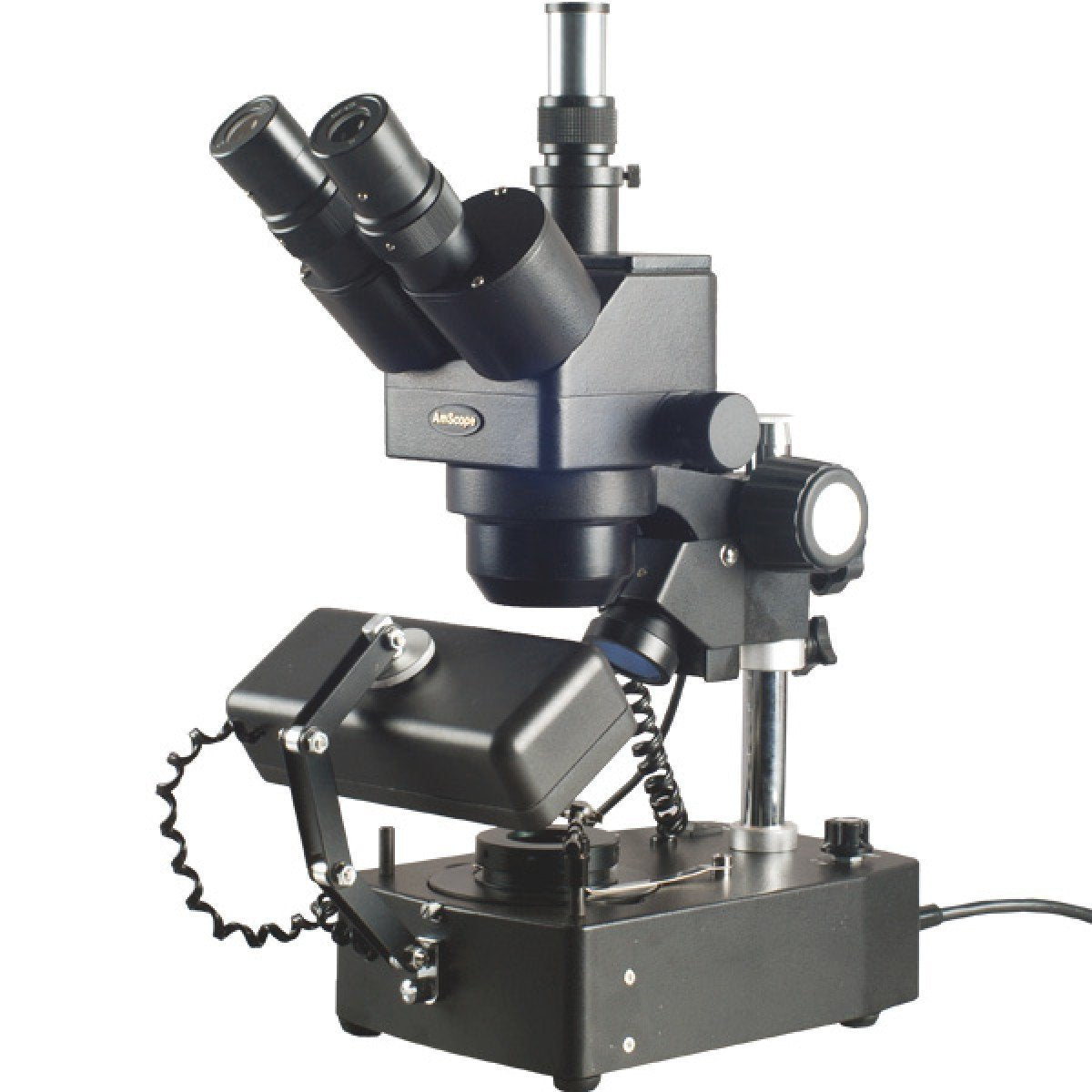 AmScope 5X-80X Jewelry Gem Trinocular Stereo Microscope with Three Lights - SH-2TZ-SL-DK