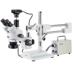 AmScope 3.5X-90X Zoom Stereo Trinocular Microscope with LED Fiber Optic Ring Light and 6.3MP High-speed USB3 Camera