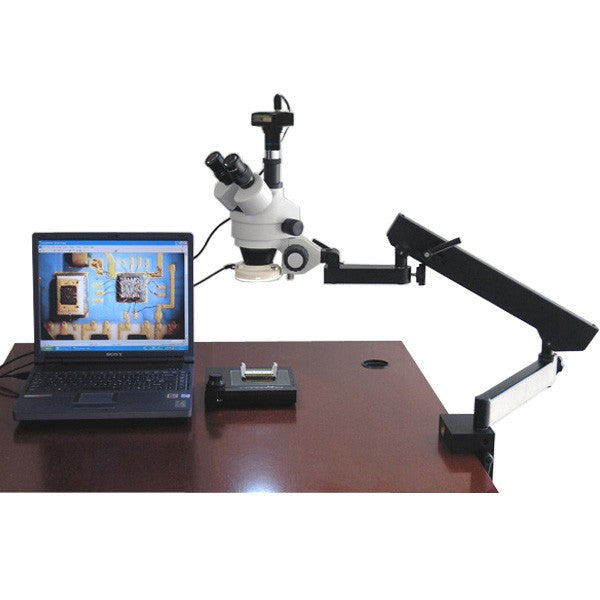 Amscope 3.5X-90X Articulating Zoom Microscope w Fluorescent Light + 1.3MP Digital Camera