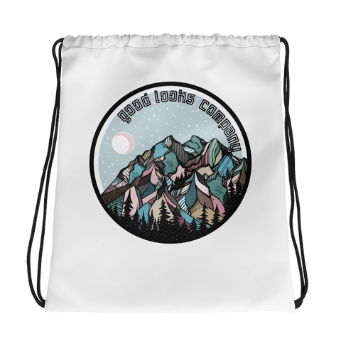 Snowy Mountain Drawstring Bag