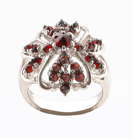 Ring with Garnet Stone - Golden & Silver  - 1