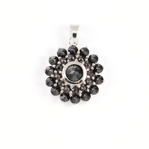Pendant with Garnet Stone - Golden & Silver