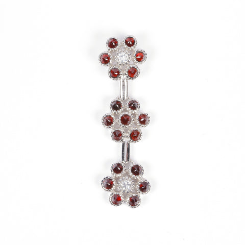 Pendant with Garnet Stone and Zircon - Golden & Silver