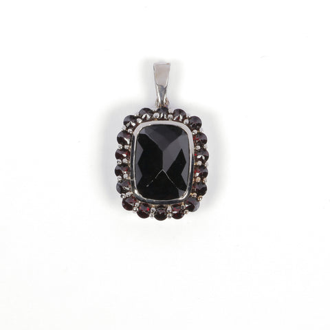 Pendant with Garnet Stone - Golden & Silver  - 1