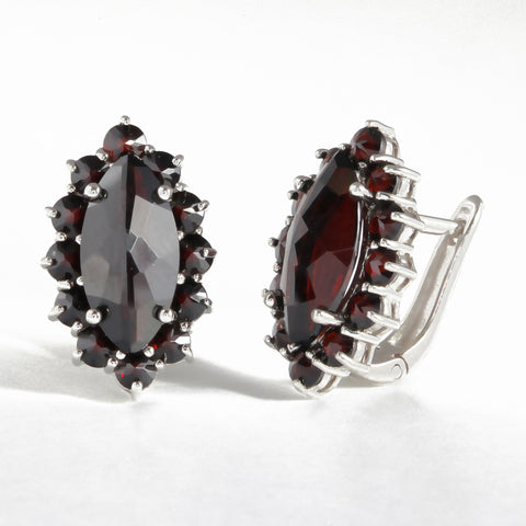 Earring with Garnet Stone - Golden & Silver