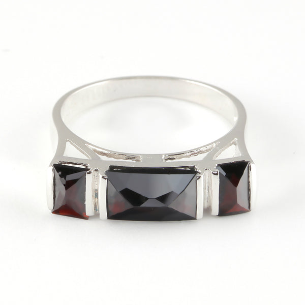 Ring with Garnet Stone - Golden & Silver  - 2