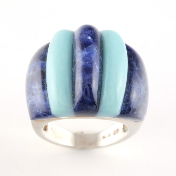 Ring with Sodalite and Blue Quartzite - Golden & Silver