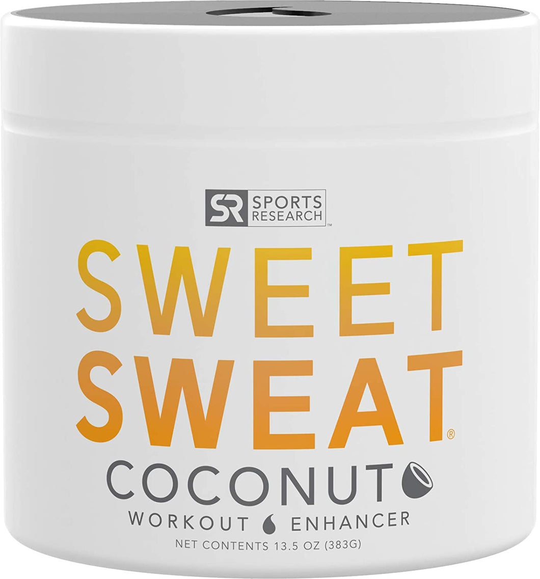 Gel de coco 'Workout Enhancer' de Sweet Sweat, hecho con aceite de coco orgánico extra virgen, frasco 'XL' de 13.5 fl oz