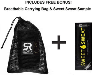 Sports Research Sweet Sweat Premium Cintura recortadora (logotipo amarillo) para hombres y mujeres. ¡Incluye una muestra gratuita de Sweet Sweat Gel!
