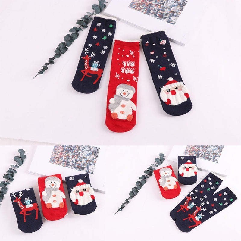 Christmas Cartoon Jacquard Cotton Women's Socks, 3 Sets