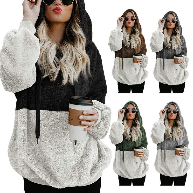 Fluffy hoodie with zipper