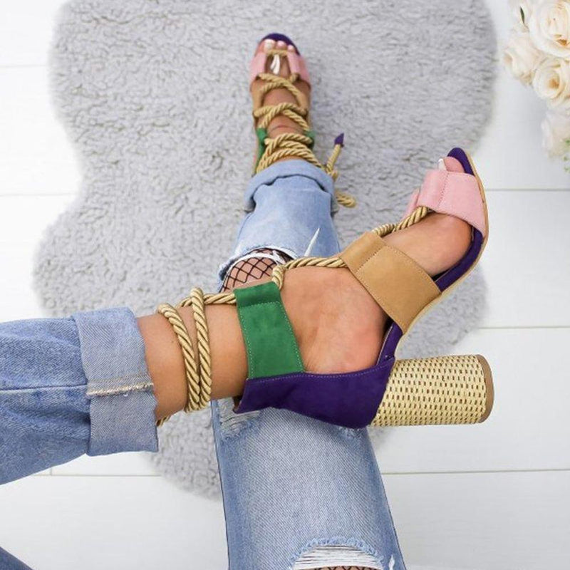 Multi-color Lace-up Heeled Sandals