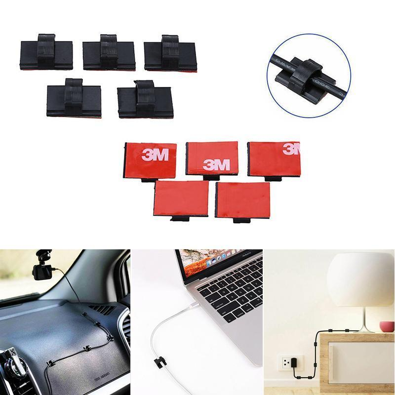 100 pcs Adhesive Cable Clips Wire Clamps Car Cable Organizer Cord Tie Holder