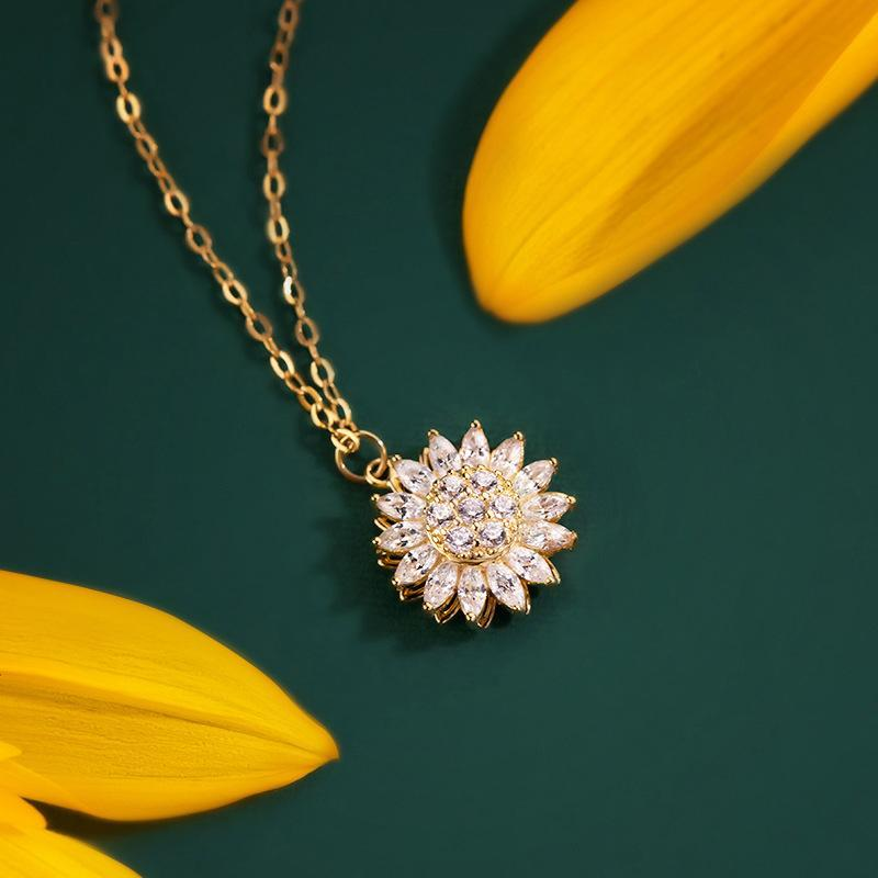 Rotatable Sunflower Necklace
