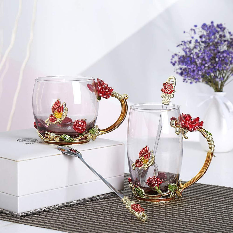 Enamel Rose Glass Tea Cup Set (With Spoon)