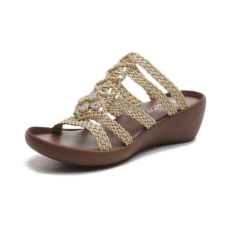 Hollow Out Weave Opened Toe Rhinestone Wedges Slippers