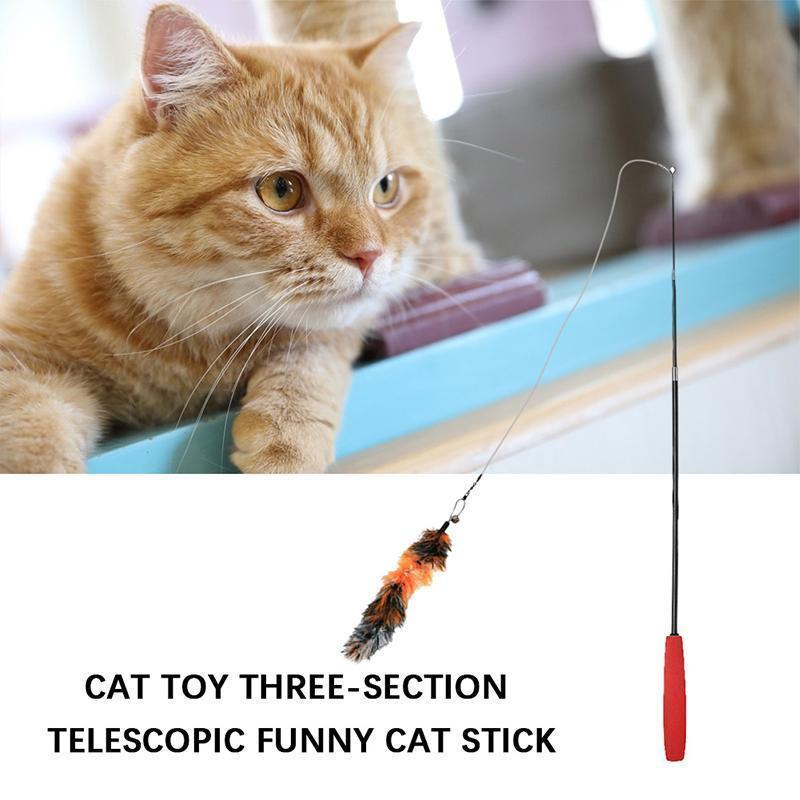 Feather Teaser Cat Toy Retractable Cat Feather Toy Wand