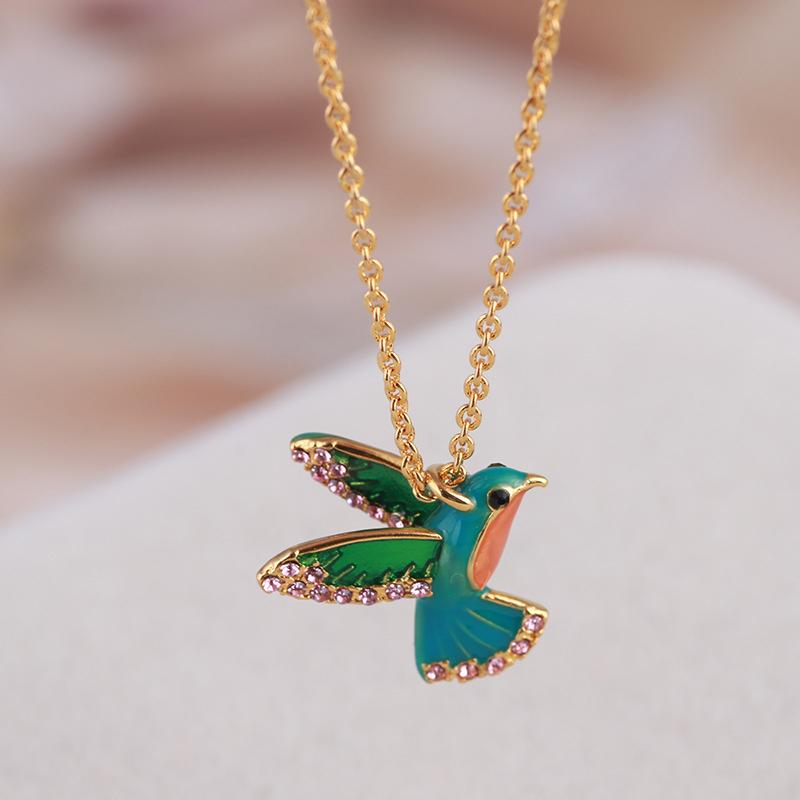 Colorful Diamond Enamel Hummingbird Necklace