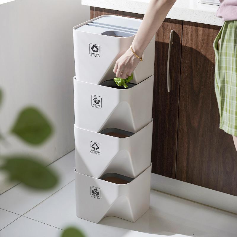 Household Stacked Folding Trash Bins