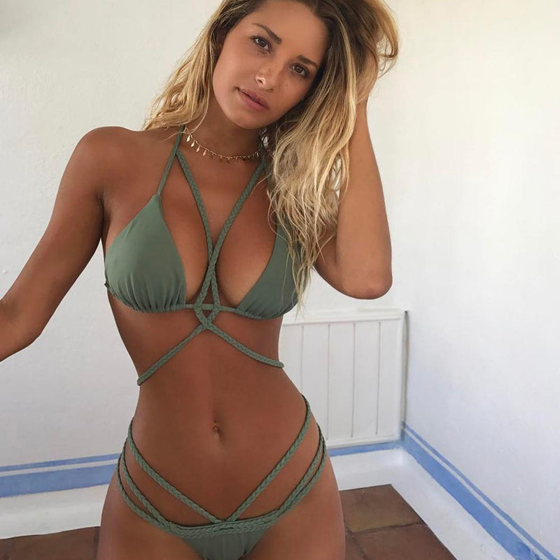 Solid Color Lace-Up Swimsuit