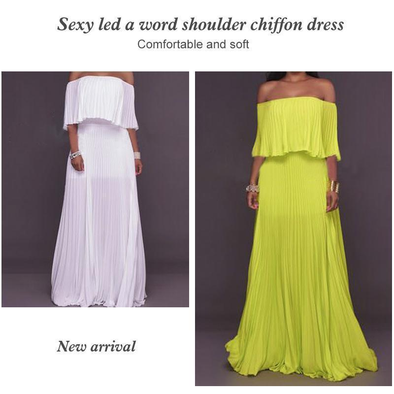 One-word Collar Pleated Maxi Prom Dress