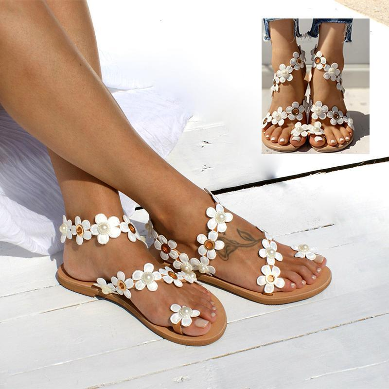 Flower Sandals with Flat Bottom
