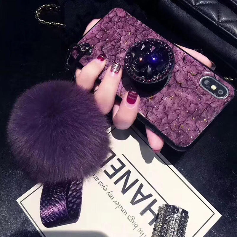 Hair Ball Airbag Bracket Holder Diamond iPhone Case