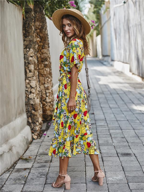 Casual Floral V Neck Short Sleeve Asymmetrical Long Dress