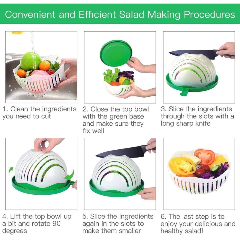 Hirundo Upgraded Salad Cutter Bowl, Green