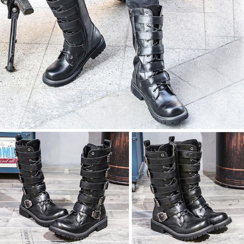 Skull straps motorcycle boots